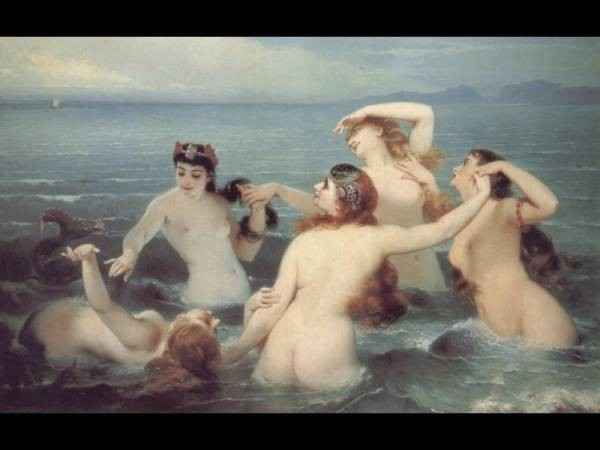 Mermaids Frolicking in the Sea
